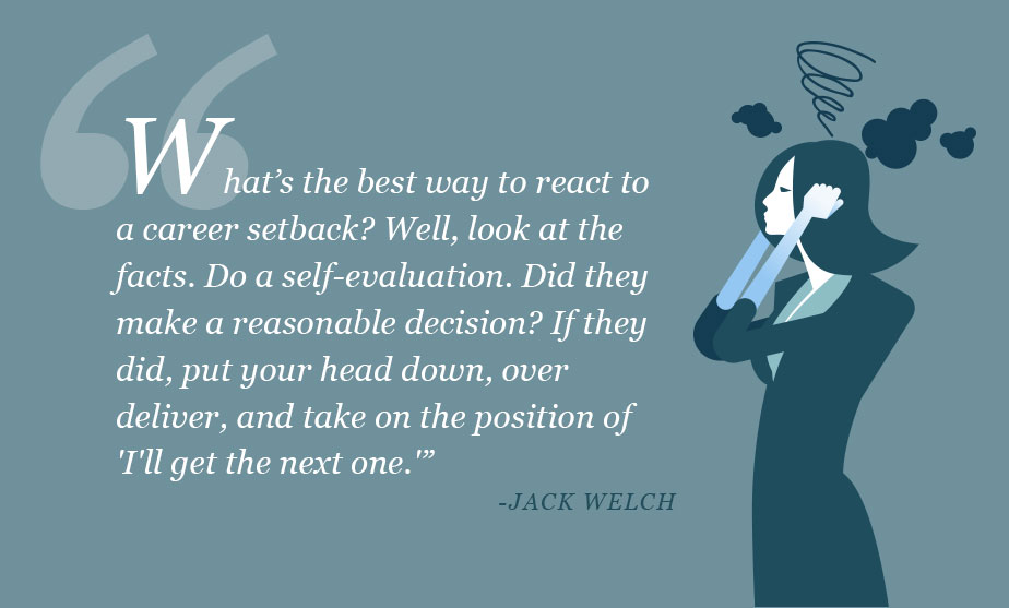 What's the best way to react to a career setback? Well, look at the facts. Do a self-evaluation. Did they make a reasonable decision? If they did, put your head down, over deliver, and take on the position of 'I'll get the next one.'